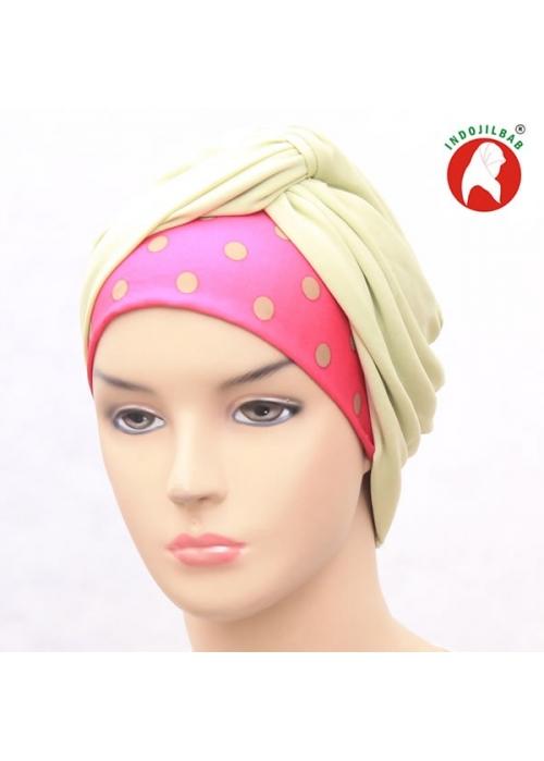 Turban Polkadot Hijau Pink
