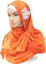 Shawl Tie Dye Diamond Flower Orange 001