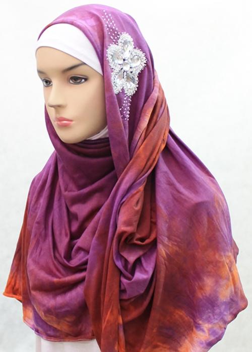 Shawl Tie Dye Diamond Flower Ungu 002