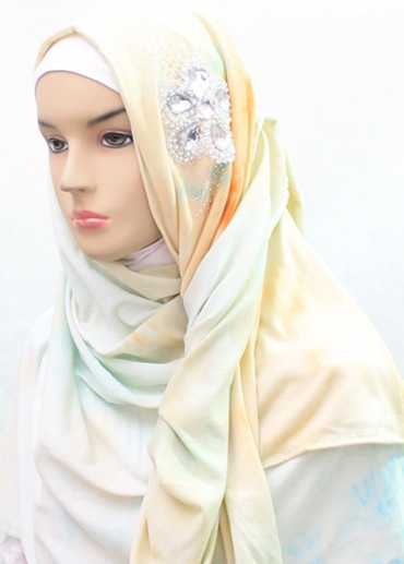 Shawl Tie Dye Swarovsky Flower Hijau 002